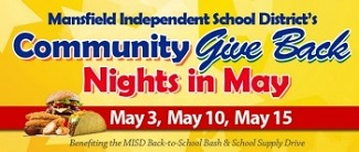 MANSFIELD ISD COMMUNITY GIVE BACK NIGHTS IN MAY LOGO WITH DATES MAY 3, MAY 10, MAY 15